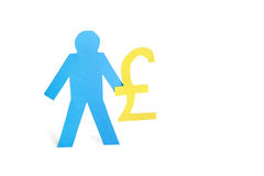 A blue stick figure holding pound sign over white background stock image