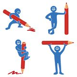 Blue stick figure with red pencil. Blue stick figure with a red pencil in four different positions Royalty Free Stock Photo