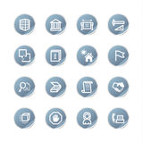 Blue sticker building icons Stock Photos