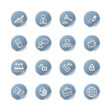Blue sticker business icons Royalty Free Stock Photography