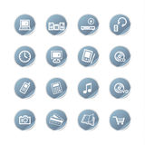 Blue sticker electronics icons Stock Photos