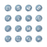 Blue sticker finance icons. Vector web icons, blue sticker series Royalty Free Stock Photos