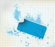 Blue sticker on a grunge background Stock Photo