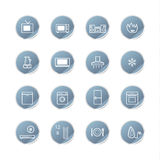 Blue sticker household icons Royalty Free Stock Photography