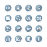 Blue sticker media icons Stock Photo