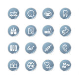 Blue sticker medicine icons Stock Photos
