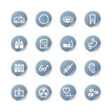 Blue sticker medicine icons Stock Photos