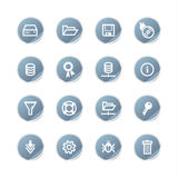 Blue sticker server icons Royalty Free Stock Photography