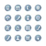 Blue sticker software icons Stock Photos