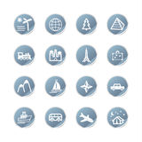 Blue sticker travel icons Stock Photo