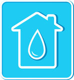 Blue sticker with water drop and house Royalty Free Stock Photo
