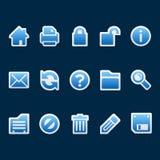 Blue sticker web icons. Set of 15 blue sticker style web icons Stock Photo