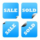 Blue stickers or labels Stock Image