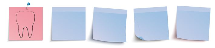 Blue Sticks Header Dentists Appointment. Blue and red stickers with tooth on the white background Stock Photos