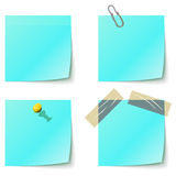 Blue sticky notice papers Royalty Free Stock Image