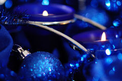 Blue still life with candles. Royalty Free Stock Images