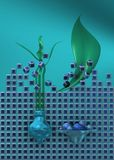 Blue of still life with flower. Futuristic vision of a classic still life composition, with big sheet Stock Photo