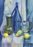 Blue still life with lemons and bottles. Gouache painting Stock Photo
