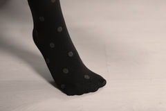 Blue stockings with dots Royalty Free Stock Image