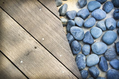 Blue stones wooden boards background Royalty Free Stock Image