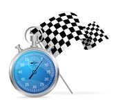 Blue stopwatch and flag vector illustraion Royalty Free Stock Photos