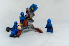 Blue storm troopers by launcher royalty free stock photos