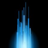 Blue Straight Lines Abstract on Black Background. Vector. Illustration royalty free illustration
