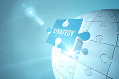 Blue strategy jigsaw piece on puzzle Stock Image