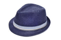 Blue straw hat Royalty Free Stock Photos