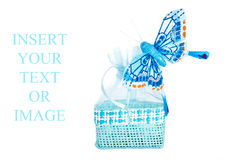 Blue straw paper-bag with butterfly. Royalty Free Stock Photography
