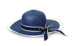 Blue straw summer hat Stock Photos