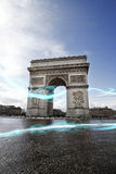 Blue streak of lights at Arc de Triomphe Stock Photo