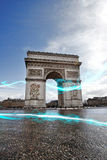 Blue streak of lights at Arc de Triomphe Royalty Free Stock Photo