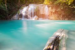 Blue stream natural waterfall in tropical forest Royalty Free Stock Photos