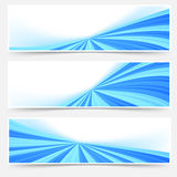 Blue stream swoosh header footer web set Stock Image