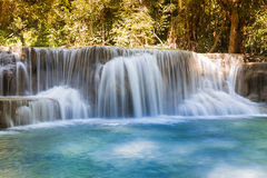 Blue stream tropical waterfall, Thailand natural landscape. Deep forest multiple layer waterfall, in national park of Thailand Royalty Free Stock Images