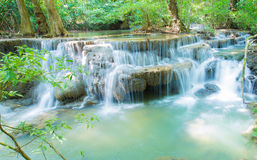 Blue stream waterfall in Kanjanaburi Thailand Royalty Free Stock Image