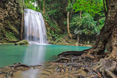Blue stream waterfall in Kanjanaburi Thailand (Erawan waterfall national park) Stock Photo