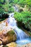 Blue stream waterfall in Kanjanaburi Thailand Royalty Free Stock Photography