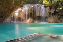 Blue stream waterfall locate in deep forest jungle Royalty Free Stock Image