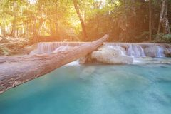 Blue stream waterfall in natural tropical forest. Natural landscape background stock photo
