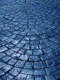 Blue street. Night view of a cobblestone street Royalty Free Stock Photography