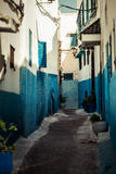 Blue street. Traditional narrow street, colored in blue Royalty Free Stock Photos