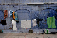 Blue street in Ajmer, India. Laundry in a street in Ajmer in rajahstan, India stock photos