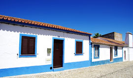 Blue street in alentejo village Stock Photography