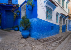 Blue street in Chefchaouen Stock Images