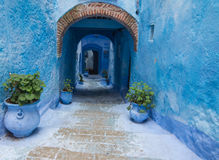 Blue street in Chefchaouen Royalty Free Stock Photography