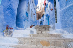 Blue street in Chefchaouen Royalty Free Stock Image