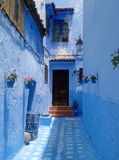 Blue street - Chefchaouen, Morocco Stock Photography