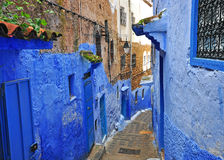 Blue street in Chefchaouen old town Stock Image